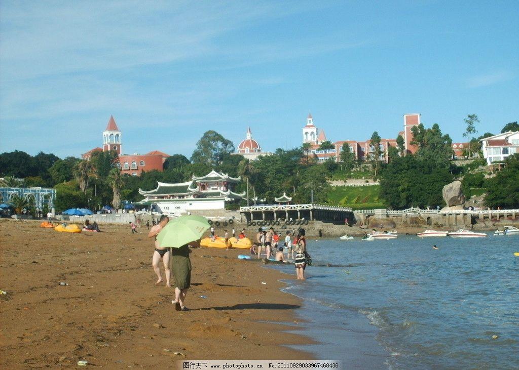 厦门鼓浪屿 鼓浪屿风景 树木 海边阴沙滩 房子 游人 国内旅游