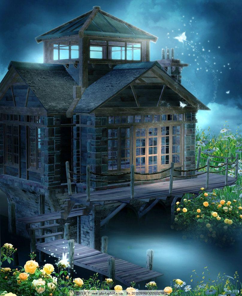 梦幻浪漫背景 童话世界 梦幻森林 月季花 蝴蝶 荧火虫 菊花 花卉
