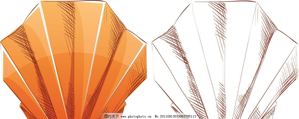 扇贝 折纸 花样 插画 修饰 装饰 质地 材质 源文件